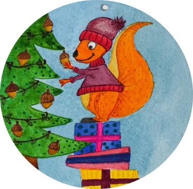 Déco Noël - avec pied photo - détail écureuil
