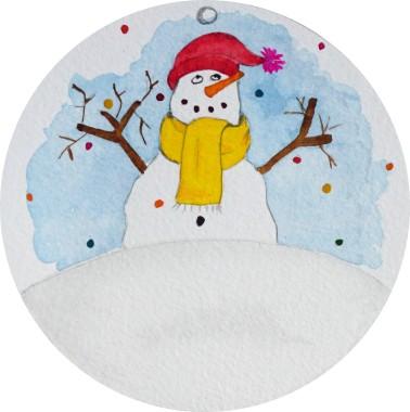 Déco Noël - avec pied photo - détail snowman