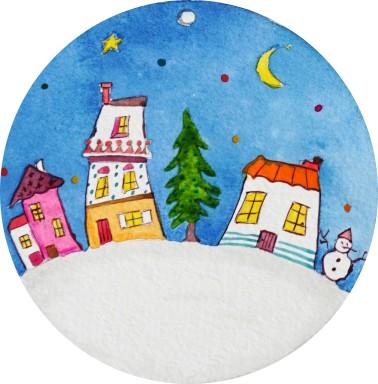 Déco Noël - avec pied photo - village